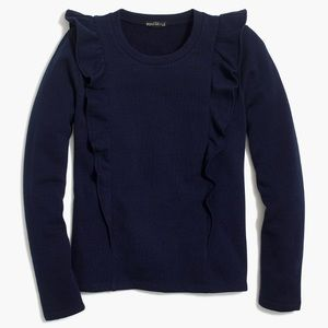 J. Crew Navy Ruffle Trimmed Pullover Sweater